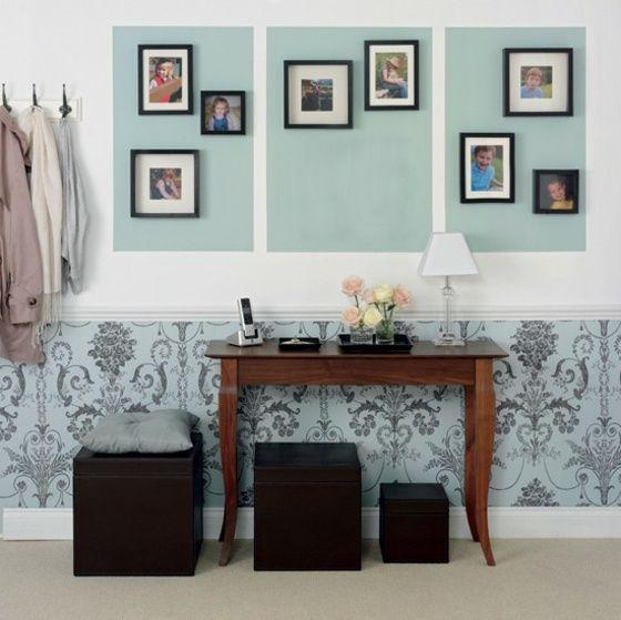 Attractive Minze Farbe Wandgestaltung Mit Farbe Und Tapeten Mit Muster Pictures