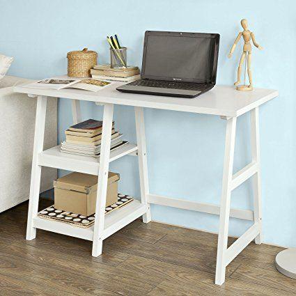 Mesa de Ordenador con Tres Estantes,Color Blanco,FWT29-W,ES SoBuy Mesa de Escritorio Mesa