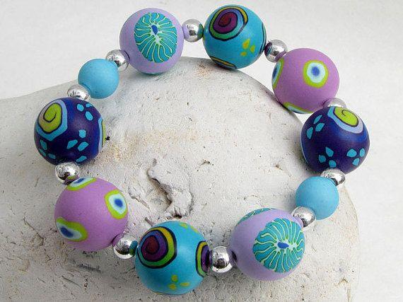 bracelet, beads, fimo, Im Ozean  handgefertigtes Armband aus Polymer von polymerdesign