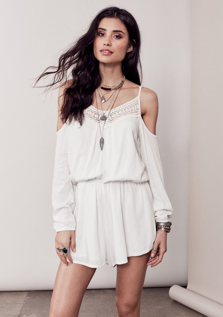 b5ccd700c9d6 Eleni Cold Shoulder Lace Accent Romper - Off White