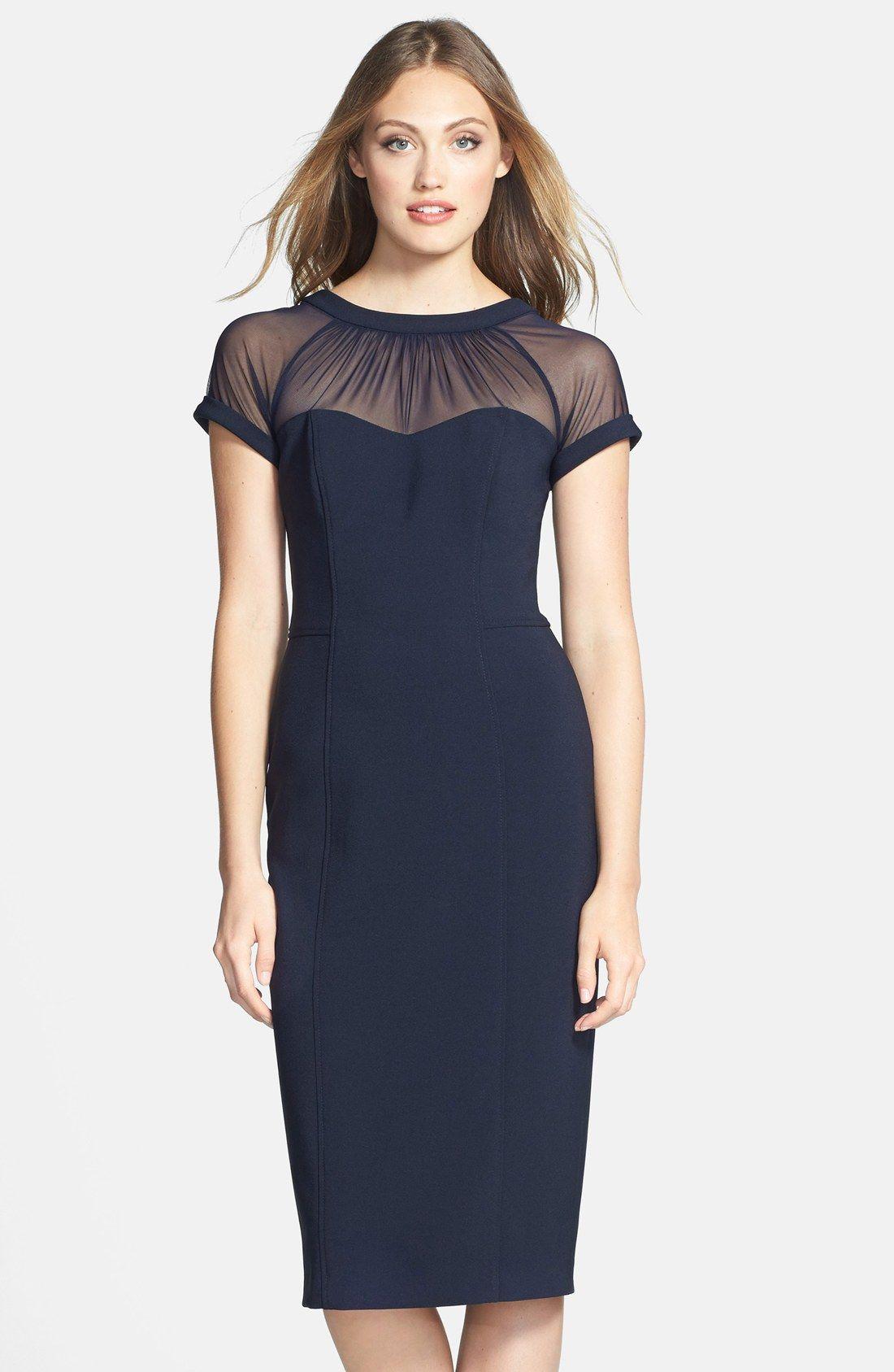 4dde3663 Maggy London Illusion Yoke Crepe Sheath Dress | Pretty Little Liars ...