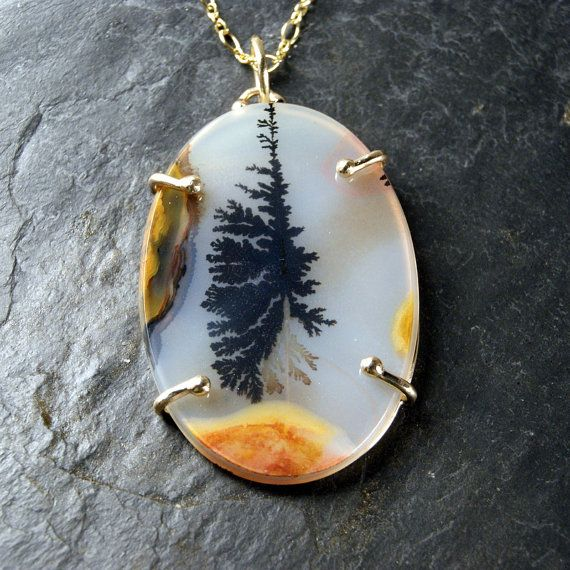 Dendritic Agate Necklace in 14kt Recycled Yellow by anatomi, $578.00