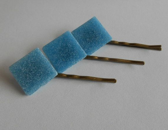 Save 10% today - Use code PIN10  Blue Glass Tile Hair Pins Blue Indigo Denim Aqua by midwooddesign