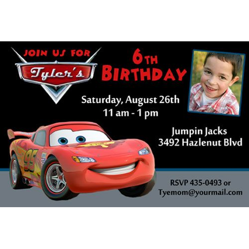 Disney Cars Lightning McQueen Photo Birthday Party Invitation - birthday invitation model