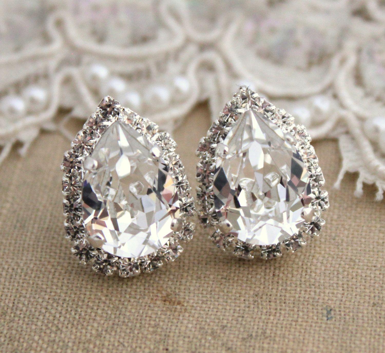 Crystal Ice Teardrop Stud Earring Brides Jewelry Wedding Earrings