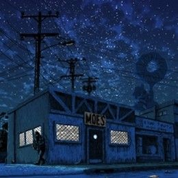 """Artist Tim Doyle's art focuses on locations """"that many of us know and have been to"""", but only actually exist on TV shows, with dark & moody locales including Moe's tavern from the Simpsons. #pop #culture #television #simpsons"""