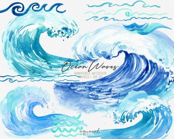 Watercolor Ocean Waves Clipart Summer Beach Invitation Sea Waves Scrapbooking Nautical Clip Art Perso Watercolor Ocean Wave Clipart Under The Sea Clipart