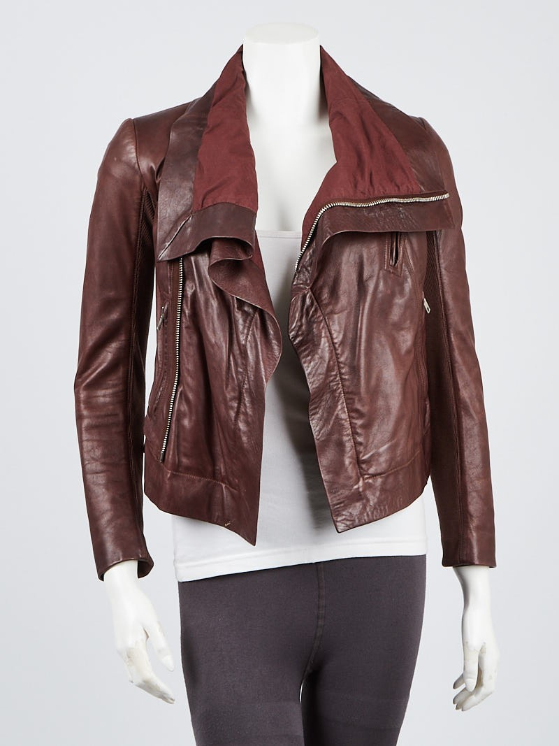 Rick Owens Brown Leather Biker Jacket Size 4/38 Leather