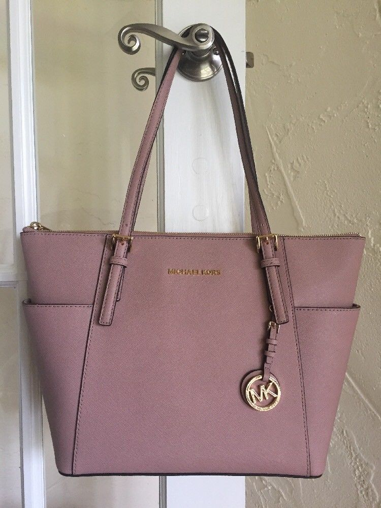 33a554dcdf5846 MICHAEL Michael Kors Jet Set EW TZ Tote FAWN Saffiano Leather #MichaelKors  #TotesShoppers Stunning