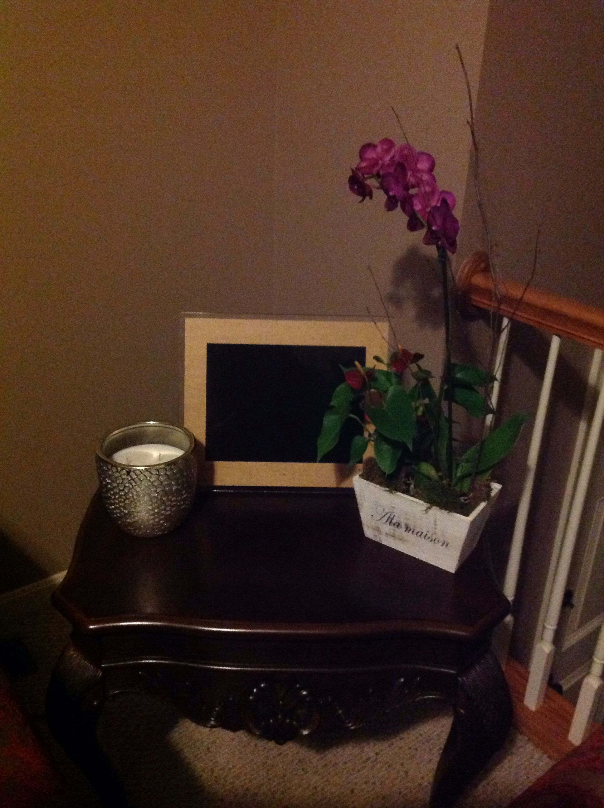 Candle from Homegoods, orchid from Costco and digital photo frame courtesy of my boyfriends mom.