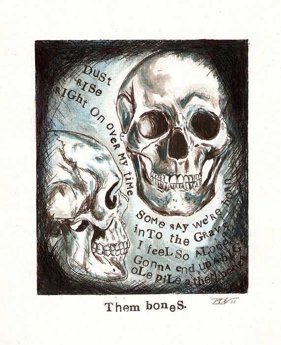 Anatomical Study Skull Art Pendant Them Bones Alice By Theinkybean