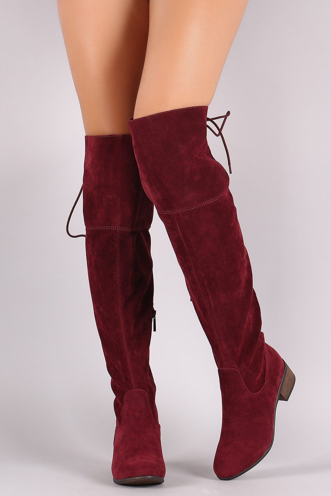 35bf3ba617a Breckelle Vegan Suede Lace Up Back Over The Knee Boots