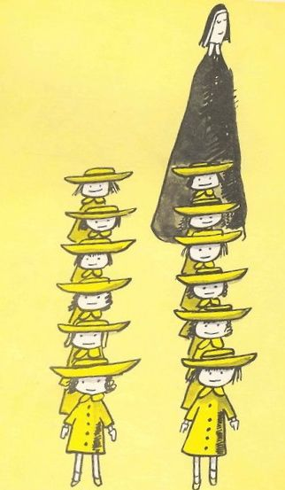 In an old house in Paris that was covered with vines, lived twelve little girls in two straight lines...the smallest one was Madeline....by Ludwig Bemelmans