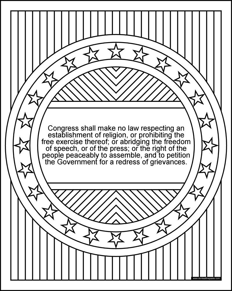 1st Amendment Coloring Page Bill Of Rights Series Coloring Is