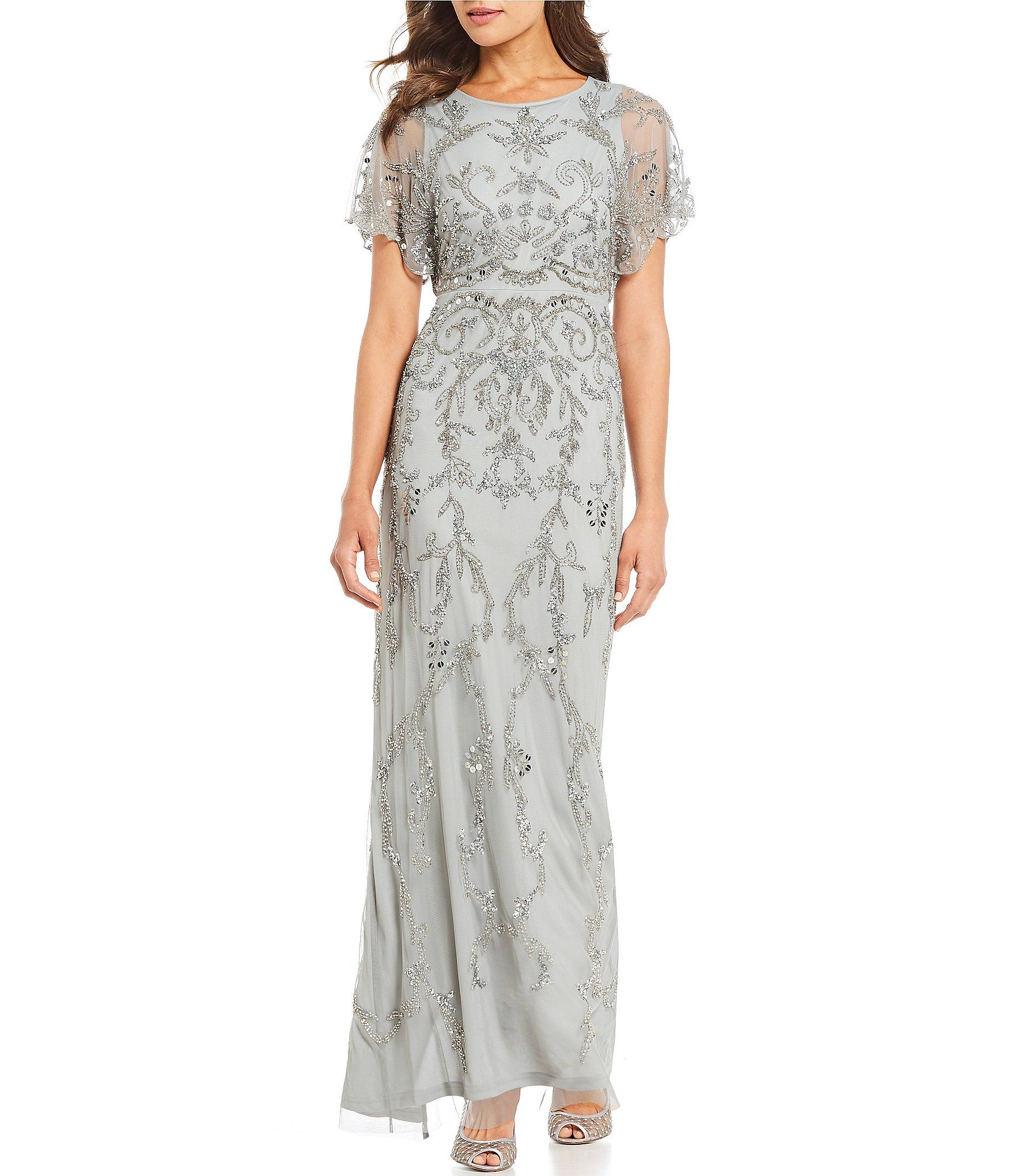 63f896c535a Shop for Adrianna Papell Petite Scallop Edge Sleeve Beaded Gown at Dillards.com.  Visit Dillards.com to find clothing