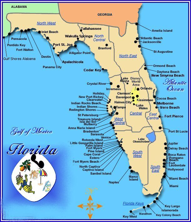 Florida West Coast Map Cities of Gulf Beaches Florida |  point west biloxi and north  Florida West Coast Map