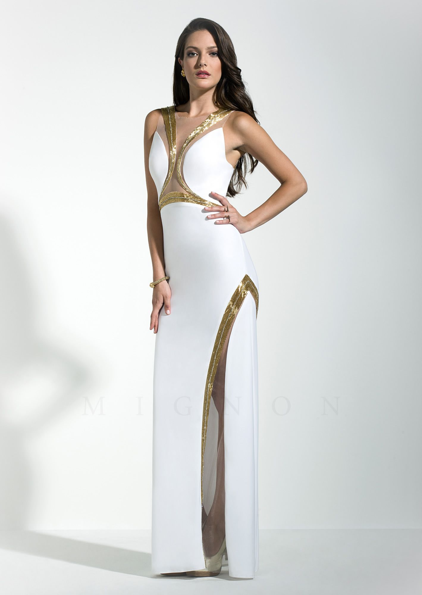 Mignon Vm1486 Spring 2017 Y White Gold Dress Perfect For Red Carpet Prom Parties Hampton Resort Cruise And Special Occasions