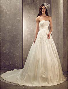 uma linha princesa trem tribunal namorada de tule e vestido ... – EUR € 146.02