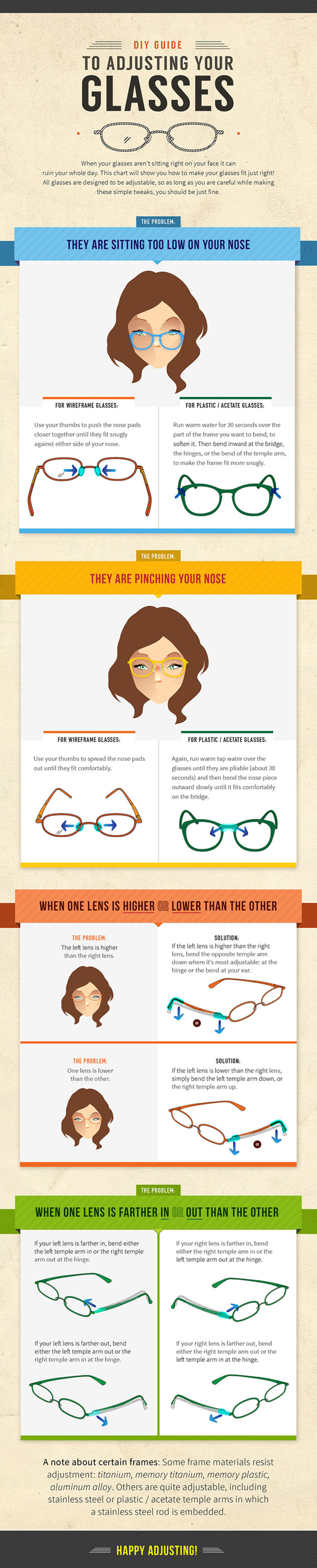 fdbbb1f1435 How To Adjust Your Glasses Infographic by Cheatography  http   www.cheatography.