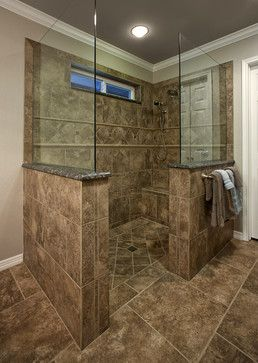 Traditional Bathroom No Door Shower Design Ideas Pictures