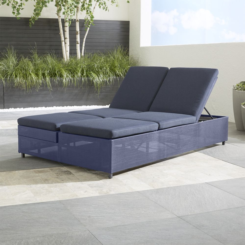 Dune double chaise sofa lounge with sunbrella cushions crate and barrel