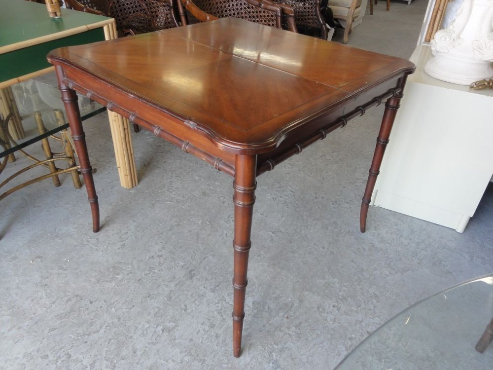 Superb Vintage Faux Bamboo Game Table Palm Beach Regency