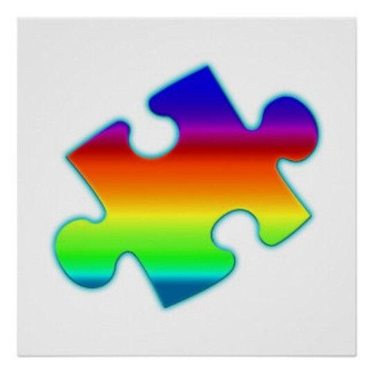 Rainbow Jigsaw Puzzle Piece