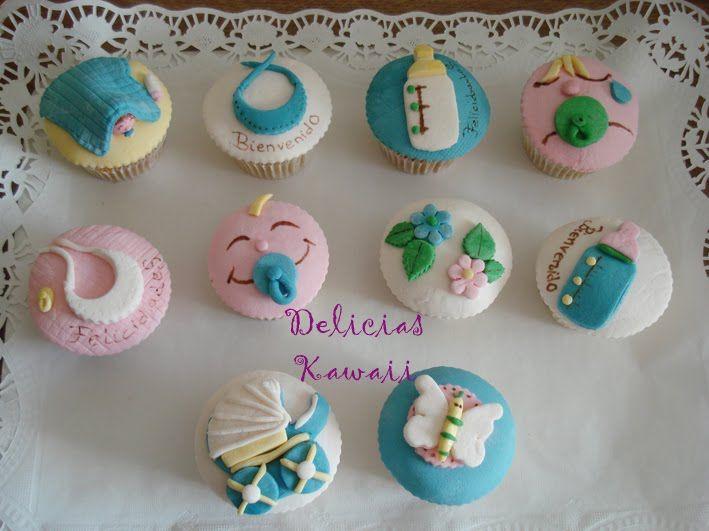 cup cakes para baby shower de ni o mini bocaditos pinterest