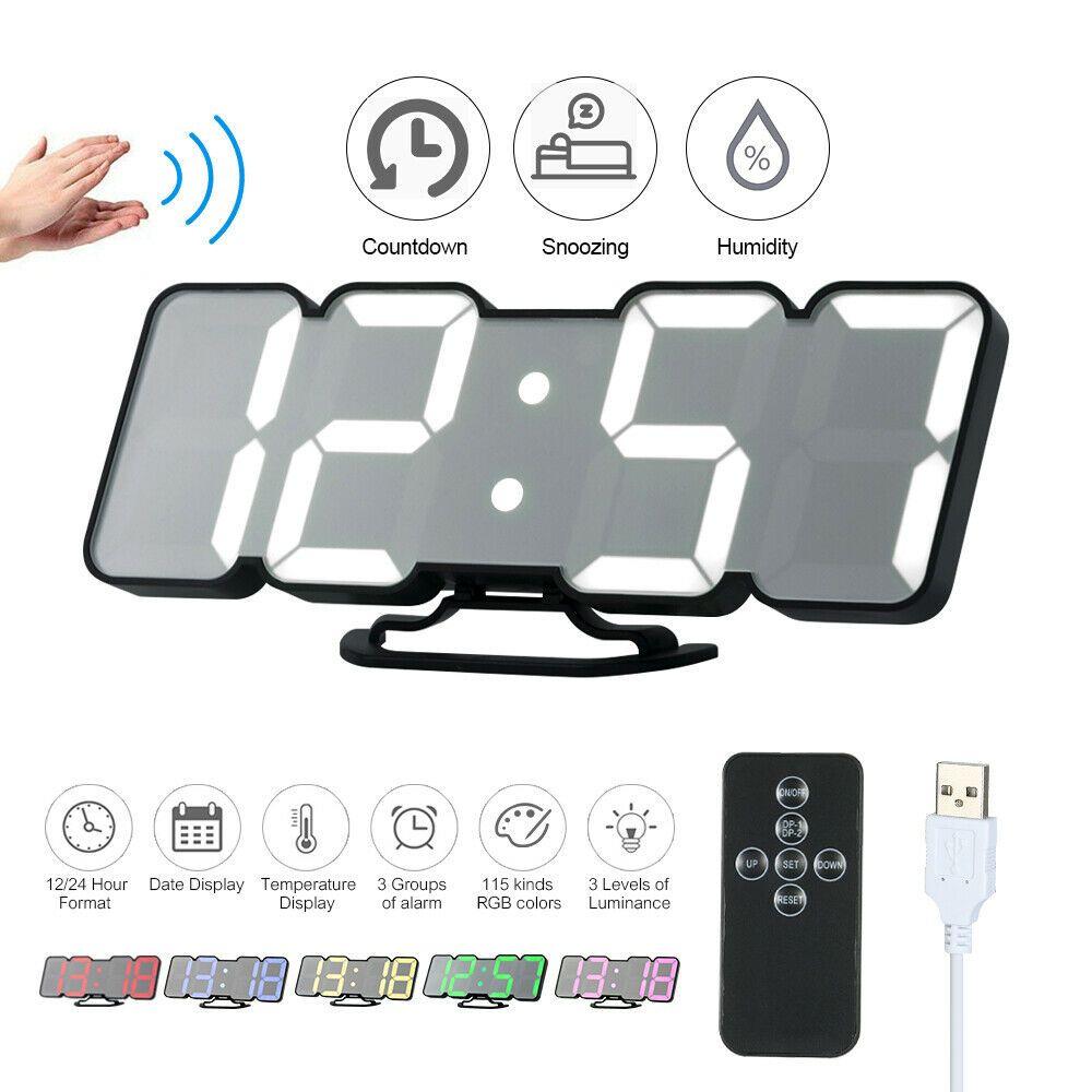 Upgraded 3d Remote Digital Rgb Led Alarm Clock Usb Powered Sound Control E7j2 Fashion Home Garden Homedcor Clocks Ebay Link Clock