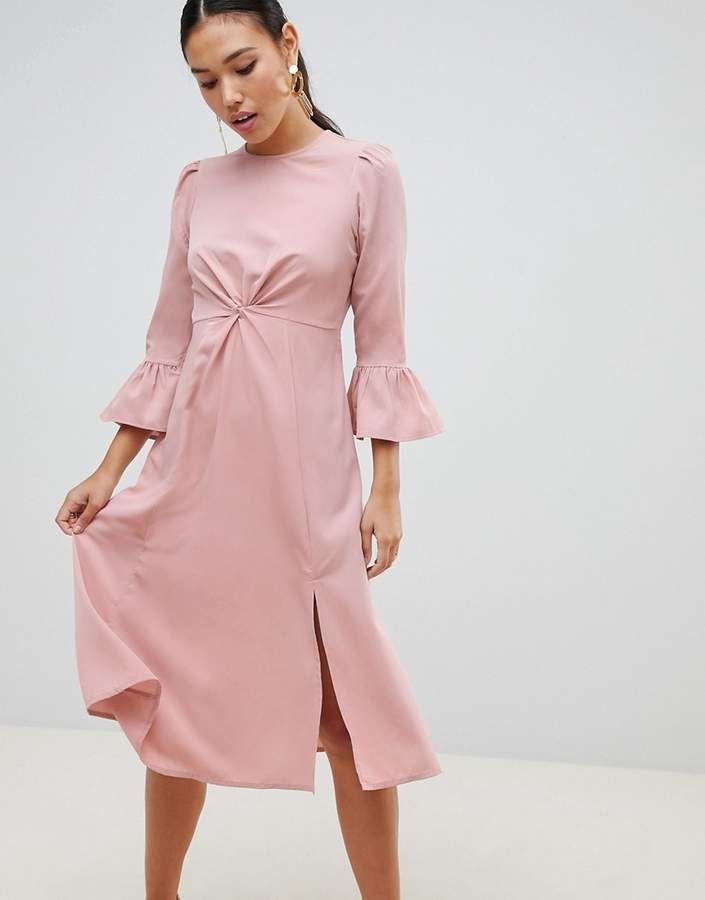 Asos Design ASOS DESIGN fluted sleeve midi dress with knot ...
