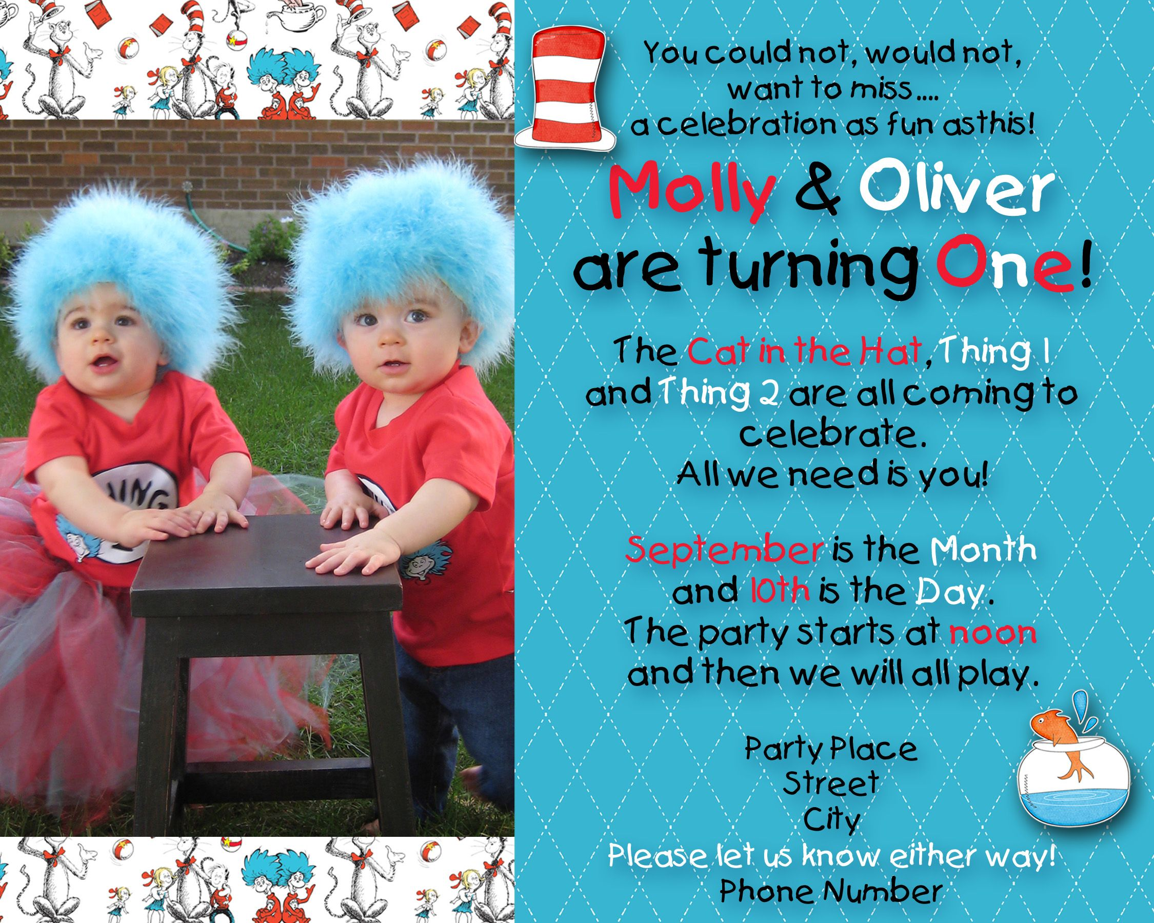 Dr Seuss thing 1 and thing 2 birthday invitations I thought the – Twin 1st Birthday Invitations