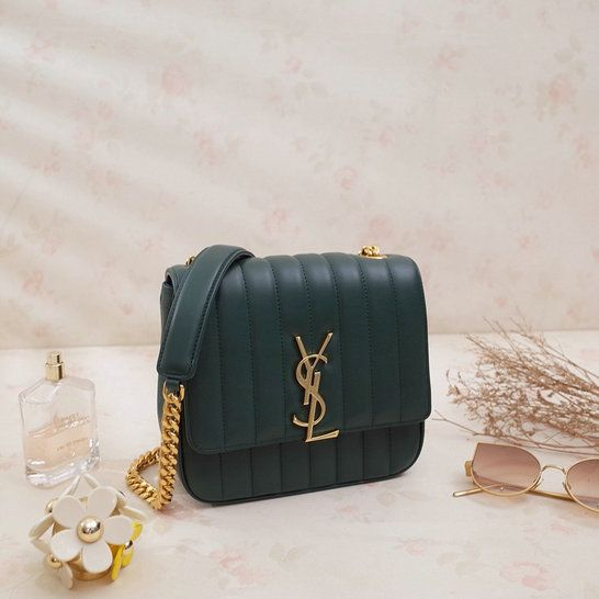 2018 S S Saint Laurent Small Vicky Bag in Dark Green Leather  35915f9d66d68