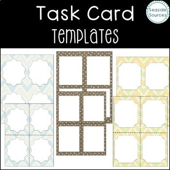 Task Card Templates | Card templates, Teacher and Template