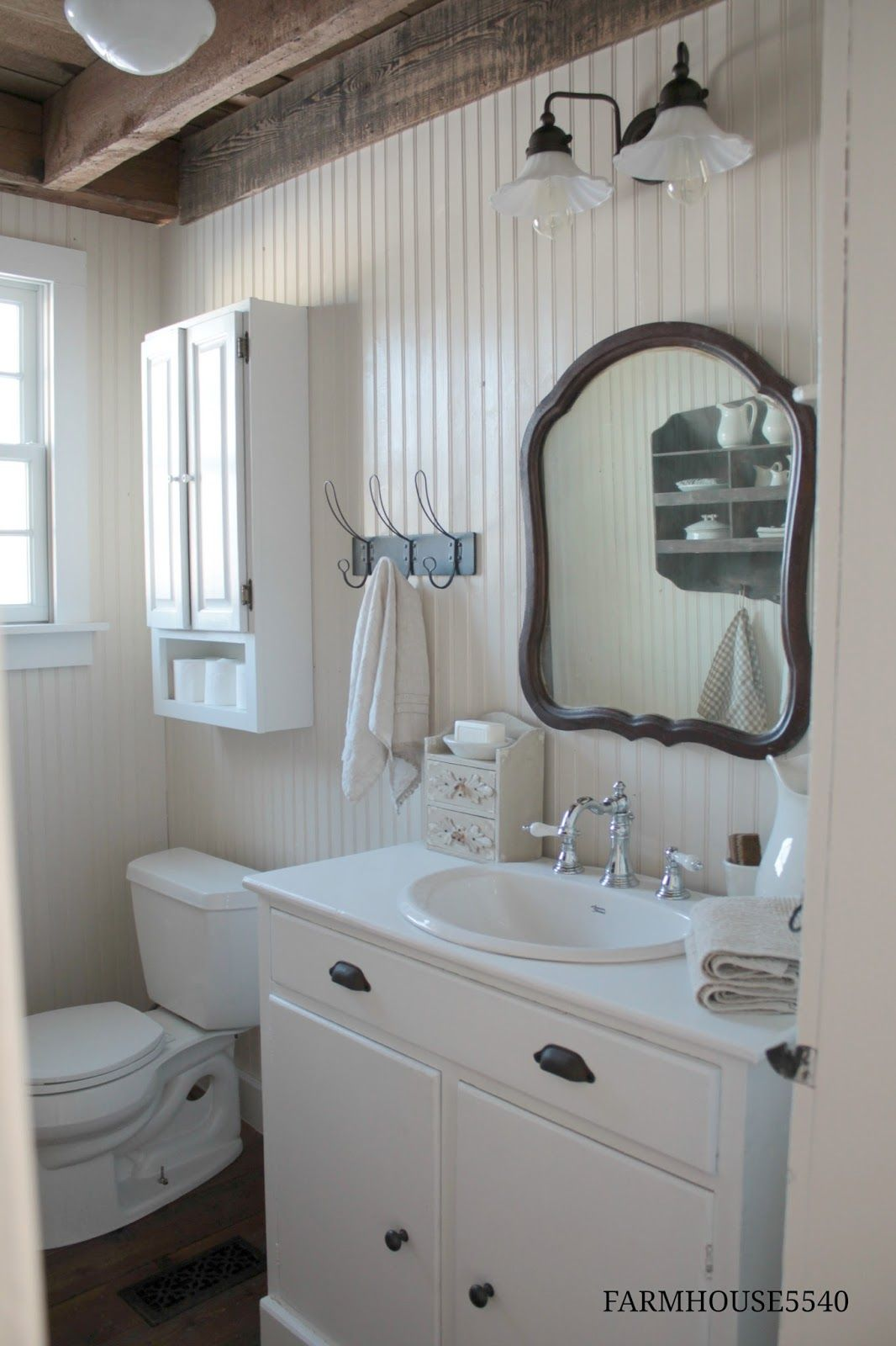 So here it is...our farmhouse powder room!!! Even though