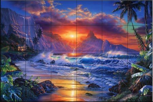 Escape Crl Tile Mural Ocean Art Art Beach Scenes