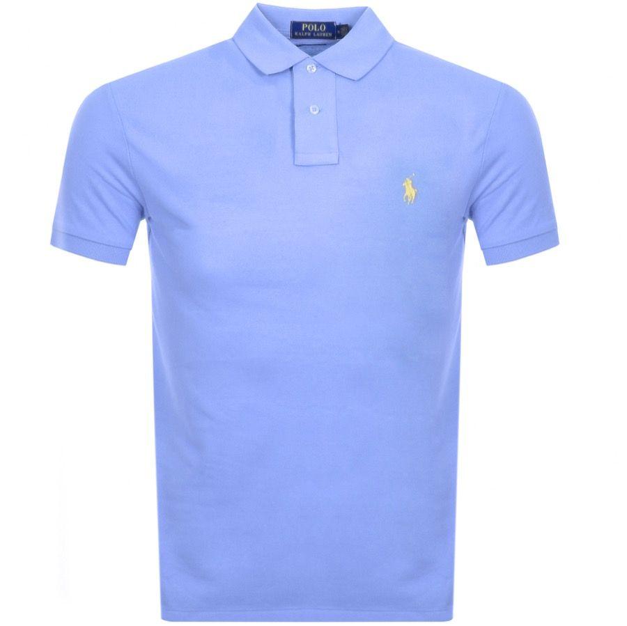 04110e82 RALPH LAUREN CUSTOM SLIM POLO T SHIRT BLUE. #ralphlauren #cloth ...