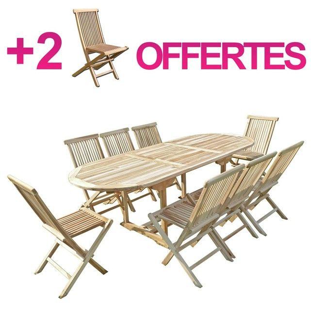 Ensemble salon de jardin en teck MAHUI 8+2 chaises - Bundle chaises ...