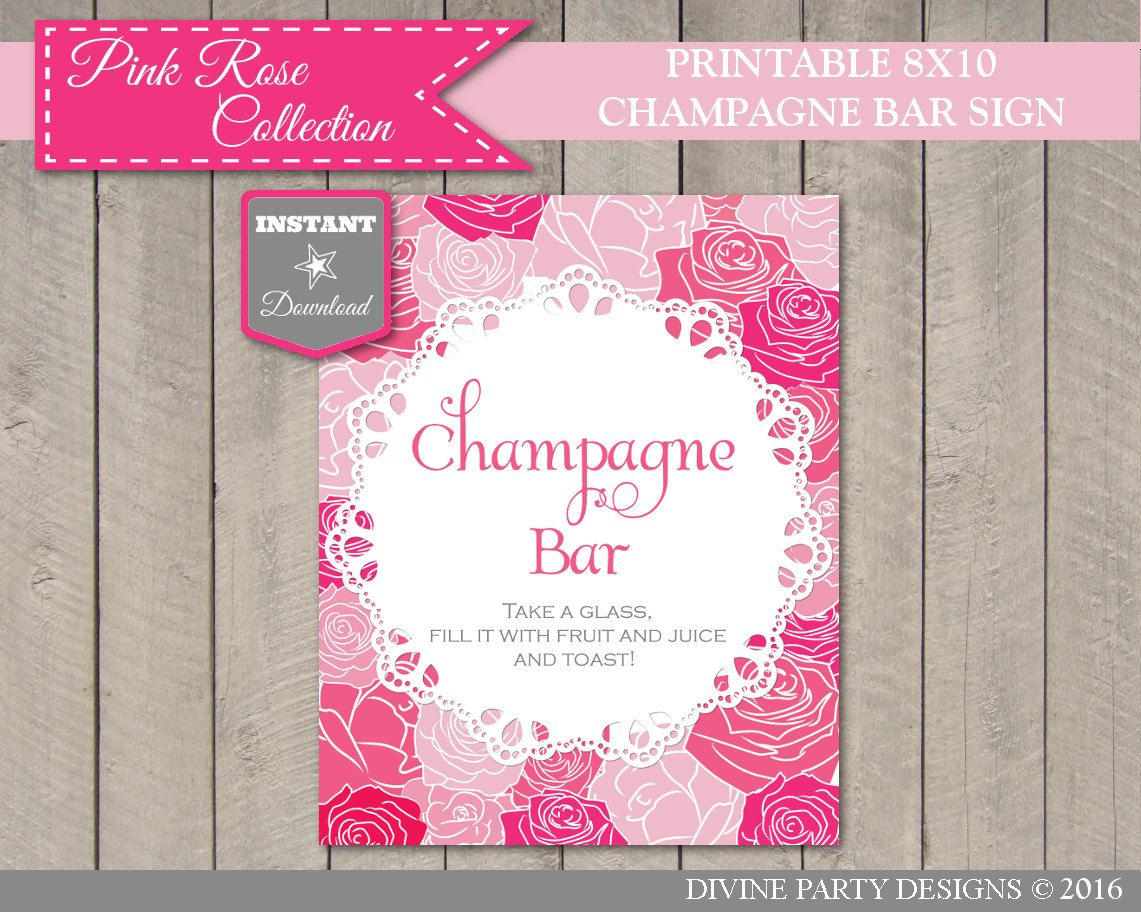 INSTANT DOWNLOAD Pink Rose 8x10 Champagne Bar Sign / Free Juice Hang Tags / Wedding Collection / Item #205 by DivinePartyDesign on Etsy
