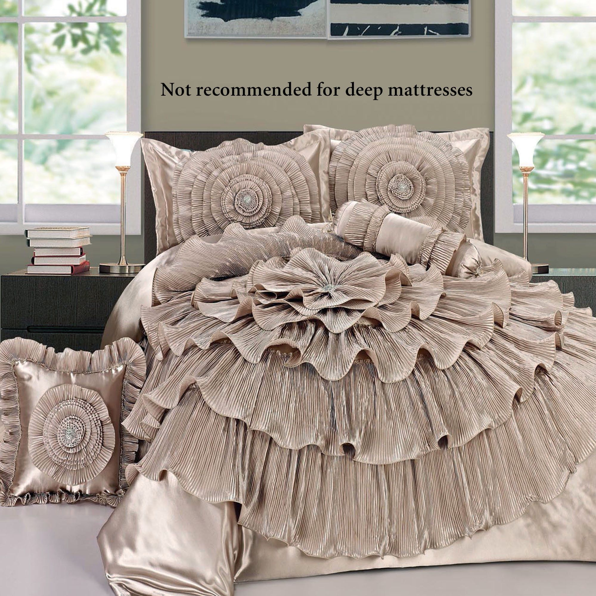 Romantic Bedroom For Her Ruffled Romance Champagne Rosette Comforter Bed Set Comforters