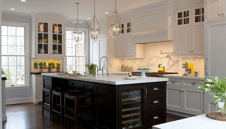 Kitchens By Deane Two Tone Kitchen With White Perimeter Kitchen Cabinets Paired With Calcutta Kitchen Inspiration Design Classic White Kitchen Kitchen Design