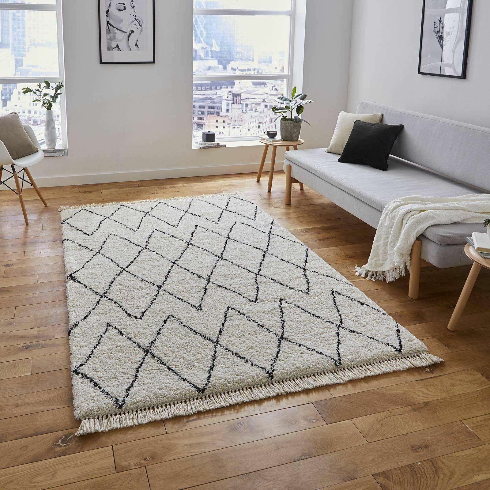 Moroccan Modern Shaggy Style Deep Soft Pile Carpet Boho 8280 Rugs In White Black Ebay In 2020 White Rug Rugs In Living Room Boho Carpets