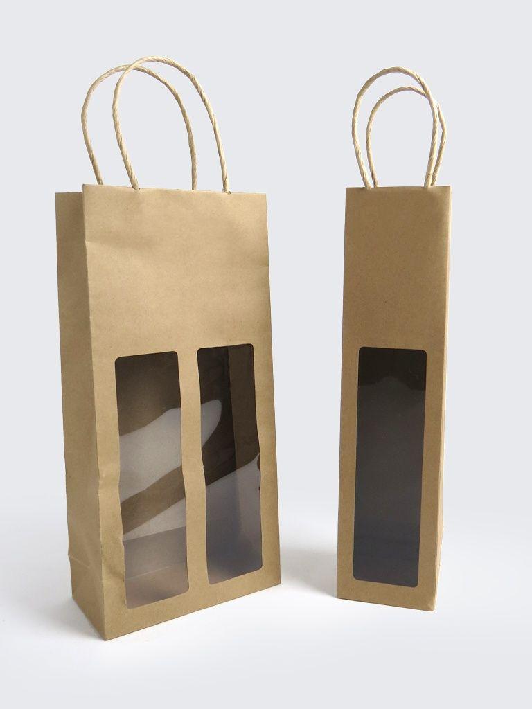Brown Kraft Window Bags For Bottles