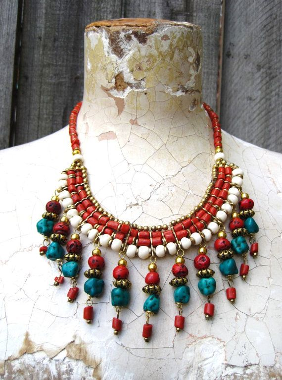 #ethnic #tribal #turquoise and coral #statementnecklace bib by #detroitdolly #tibetanjewelry