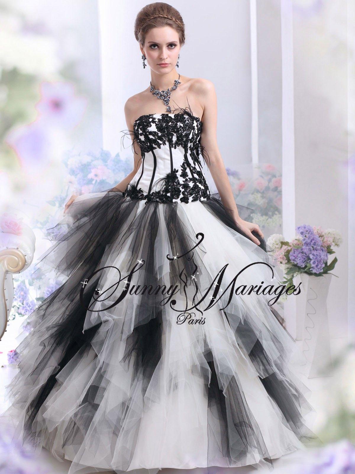 robe de mariee noir et blanc ou autres couleurs