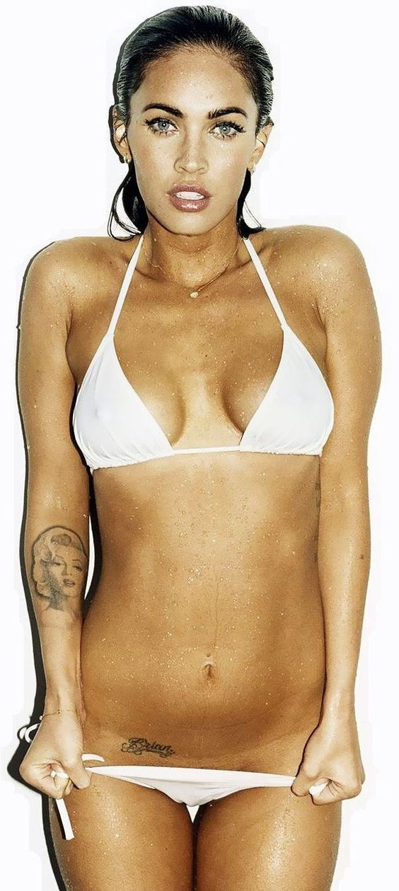 Megan Fox  sexy  celebrity in white  bikini.  7edeace2e