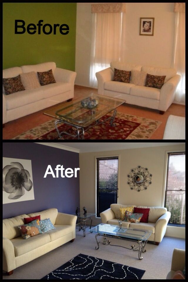 Before And After Renovating Living Room Side By Side The Transformation On A Tight Budget Is Amazing