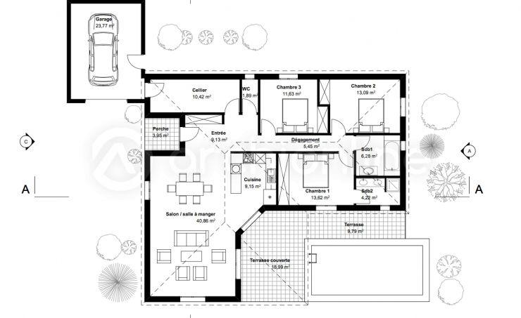 Plan Maison 5 Pieces plan maison Pinterest - Plan Maison En Longueur