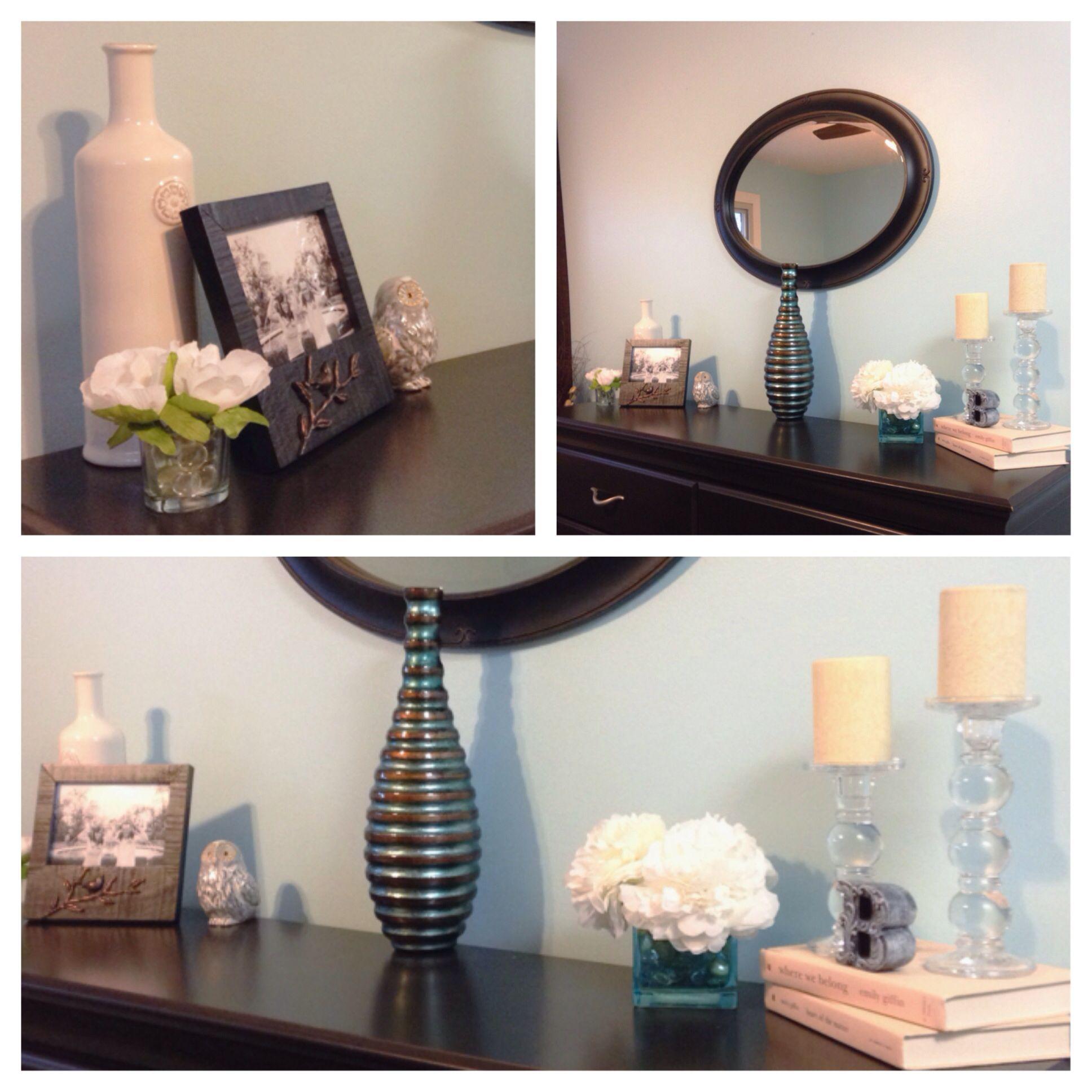 Dresser decorating ideas - glass, flowers, porcelain & a splash of ...