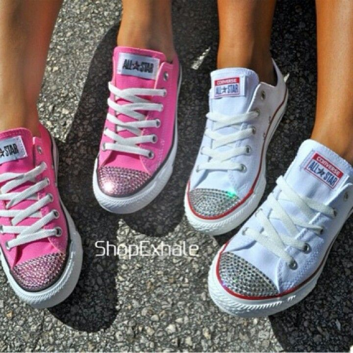 3764f5807b9c Pink and white bling converse