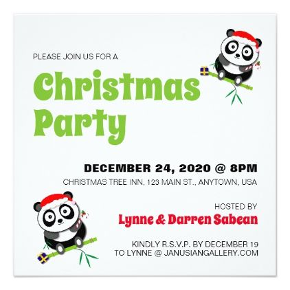 Cute Christmas Panda Bear Holiday Party Invitation Holiday party - holiday party invitation